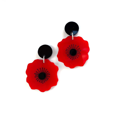 Poppy earrings - Plain Red