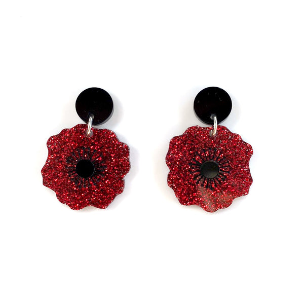 Poppy earrings - Red Glitter