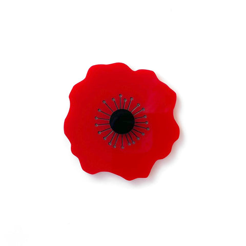 Poppy brooch - Plain Red