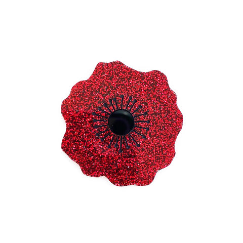 Poppy brooch - Red Glitter