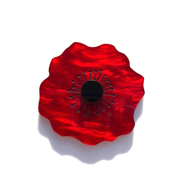 Poppy brooch - Red Marble