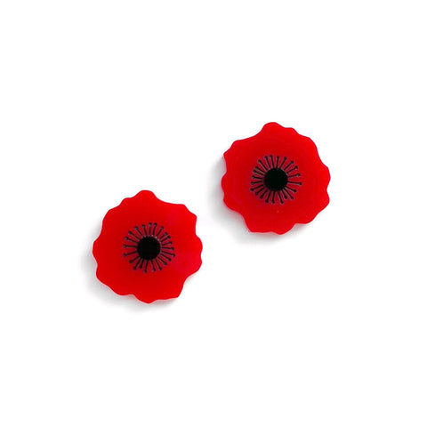 Poppy studs - Plain Red