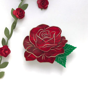 Rose brooch - Red Marble
