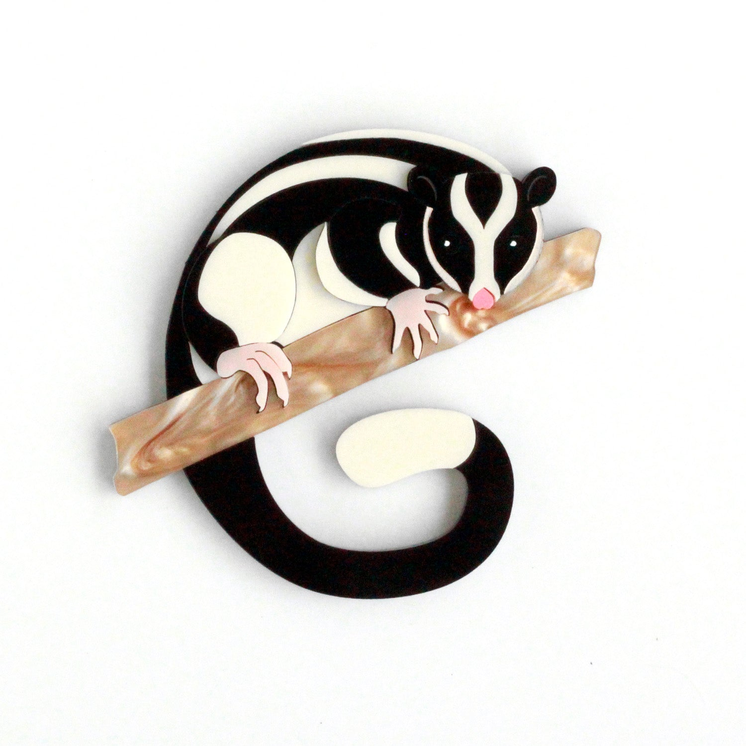 Preorder Peggy the Striped Possum brooch