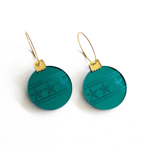 Teal Christmas Bauble Hoop earrings - Stars