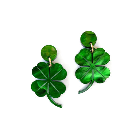 Four Leaf Clover drop earrings - Green Marble