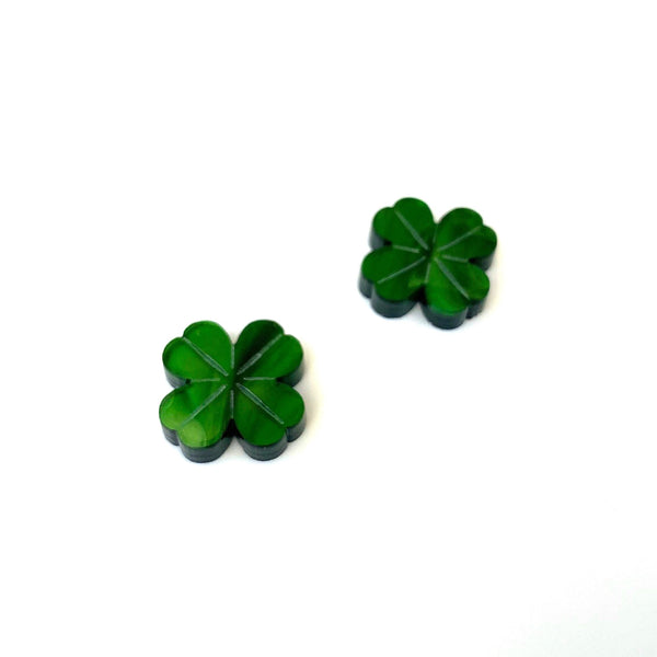 Four Leaf Clover stud earrings - Green Marble
