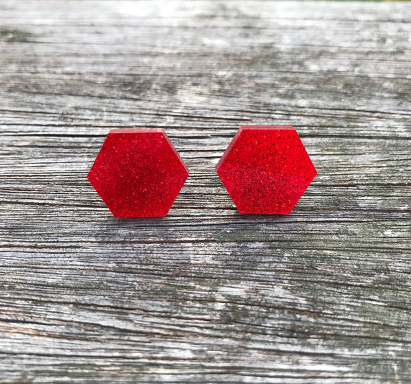 Red glitter hexagon studs