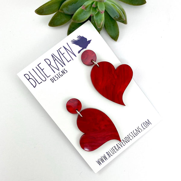 Red Marble Heart earrings