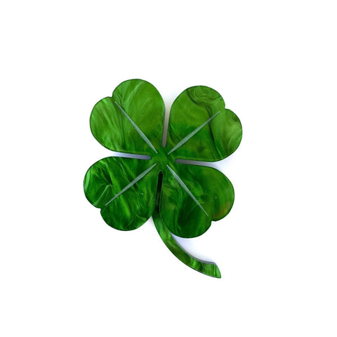 Four Leaf Clover brooch - Green Marble