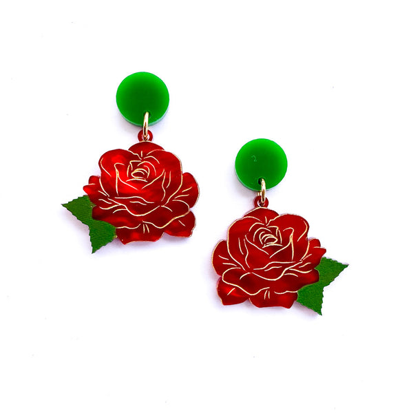 Rose Set - Red Marble earrings and brooch