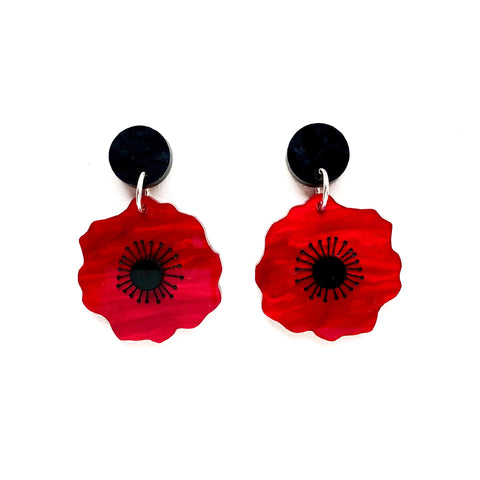 Poppy earrings - Red Marble