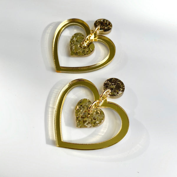 Double Heart earrings - Gold mirror