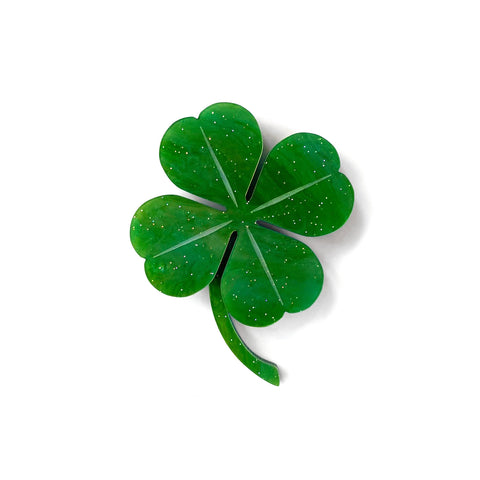 Four Leaf Clover brooch - Green Shimmer