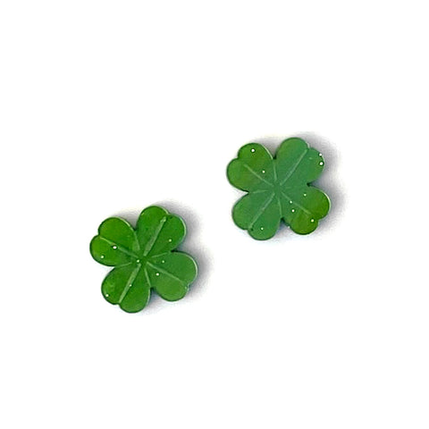 Four Leaf Clover stud earrings - Green Shimmer