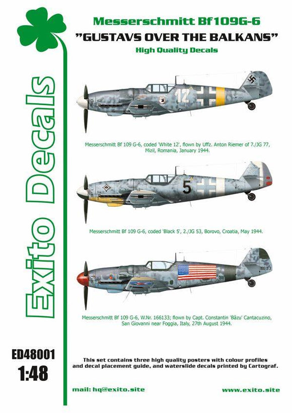 1/48 ölçek Messerschmitt Bf109G-6 'Gustavs over the Balkans' Decal (Exito Decals)
