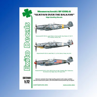 1/72 ölçek Messerschmitt Bf109G-6 'Gustavs over the Balkans' Decal (Exito Decals)
