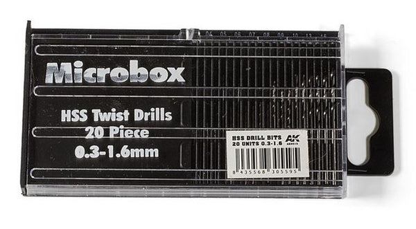 Microbox HSS Twist Drills Set 0.3 - 1.6 mm (AK Interactive)