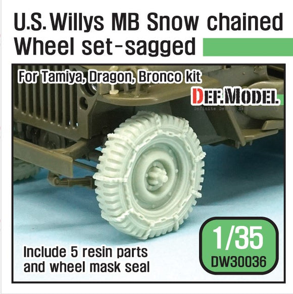 1/35 WW2 U.S. Willys MB Snow Chained Wheel set for Tamiya, Dragon, Bronco (DEF Model)
