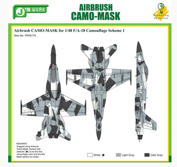 Airbrush CAMO-MASK for 1/48 F/A-18 Camouflage Scheme 1 (J's Work)