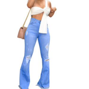 HIgh waist distressed flare jeans - a.o.allure