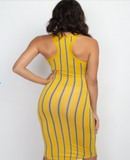 Multi color striped dress with split neck - a.o.allure