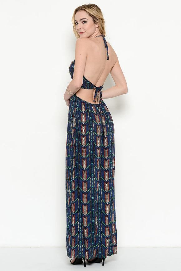 Mixed print cut out maxi dress - a.o.allure