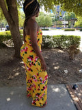 Floral mustard jumpsuit - a.o.allure
