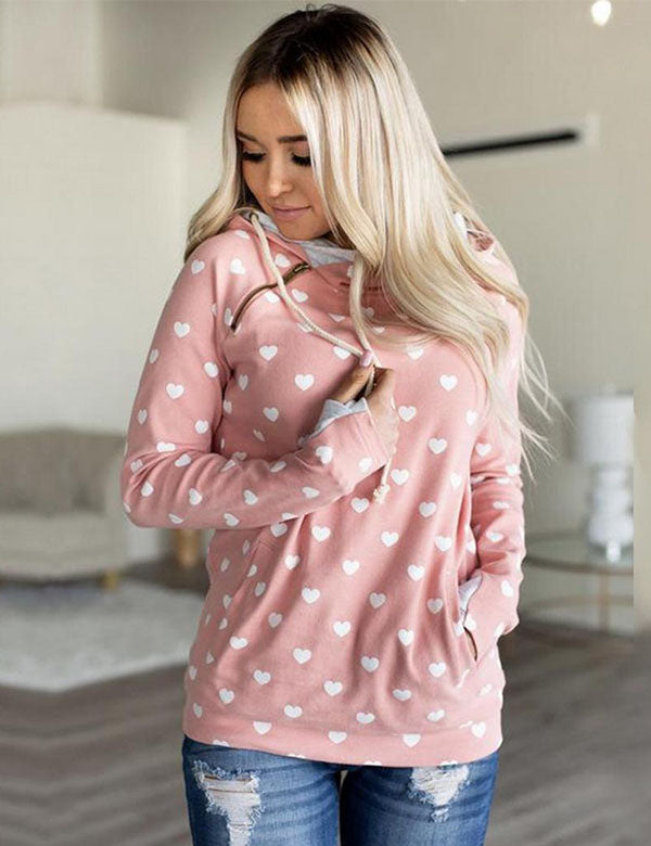 Polka Dots Hoodie With Side Pockets