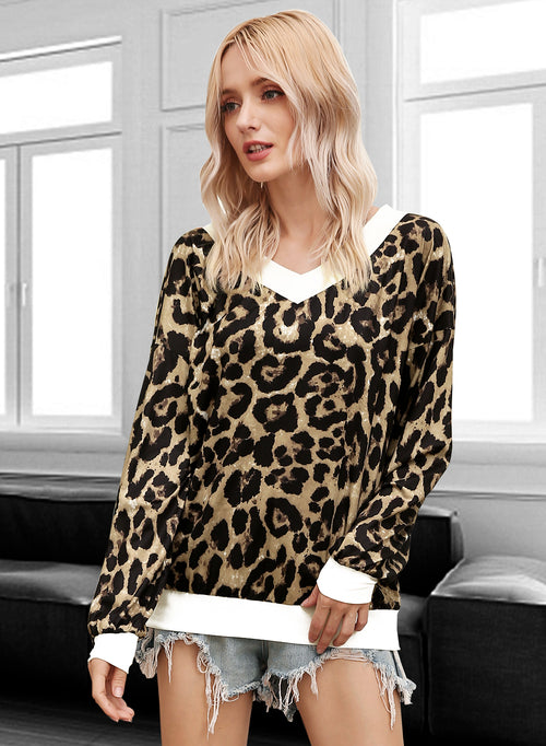 CHICME Women's Casual Top Leopard Print Blouse