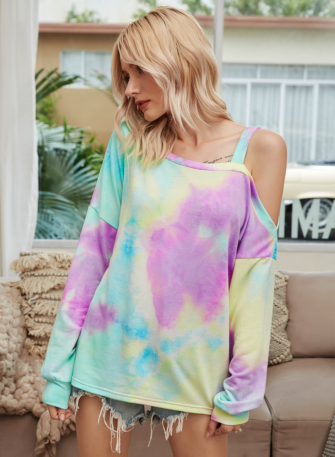 (Very Limited Stock) GDJGTA Tie-dye Print Crewneck Casual Pullover - Aceshin