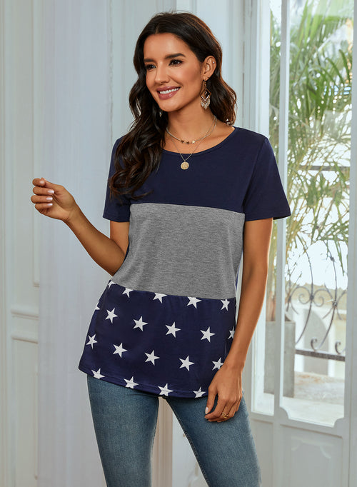 O-Neck Short Sleeve Star Patchwork Tops - Aceshin