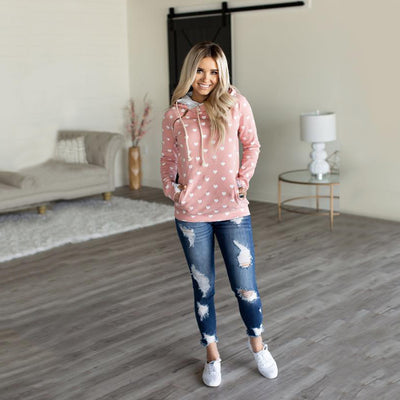 Pink/Blue Blackberry Farm Heart Shaped Patterned Hoodie - Aceshin