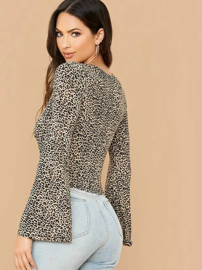 Leopard  V-Neck Bell Sleeve Crop Tops