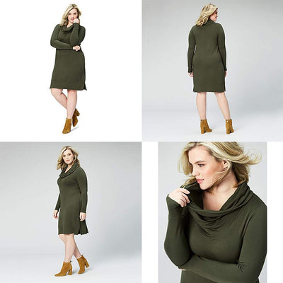Long-Sleeve Cowl Neck Sweatshirt