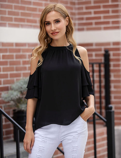 Monroe Cold Shoulder Ruffle Top (Top Seller, Added White Color) - Aceshin