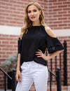 Monroe Cold Shoulder Ruffle Top (Top Seller, Added White Color)