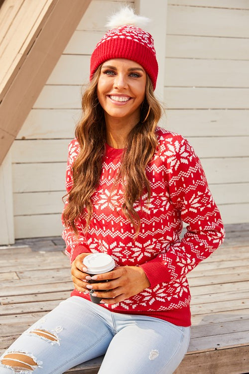 The Season Red And White Sweater - Aceshin