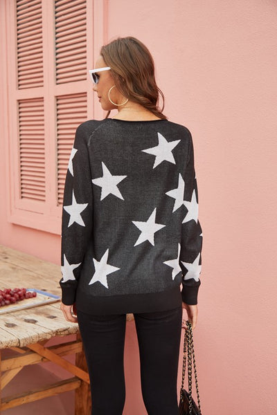 Star Printed Knit Sweater