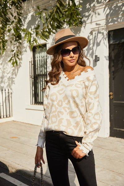 Leopard Print V-Neck Long Sleeve Tops Tassel Sweater
