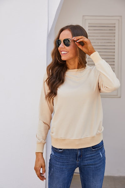 Light Khaki/Black Crewneck Sweatshirt - Aceshin