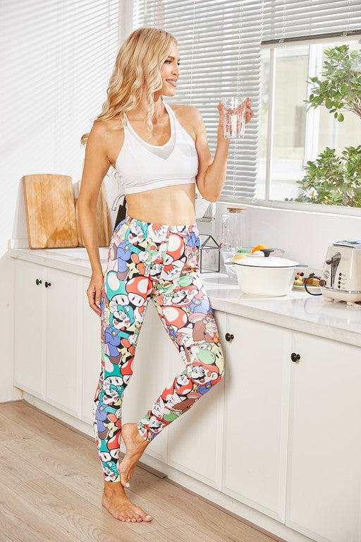 Pocono Cartoon Print Leggings - Aceshin