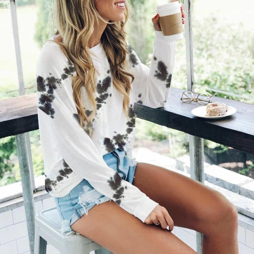 Tie Dye Long Sleeve Pullover Sweatshirt