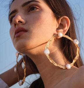Textured hoops with pearls