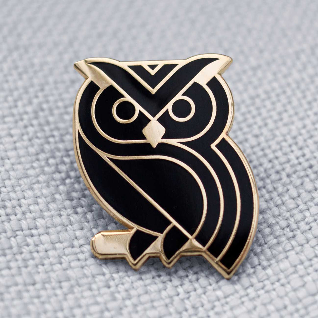 Owl, black and gold, enamel pin badge