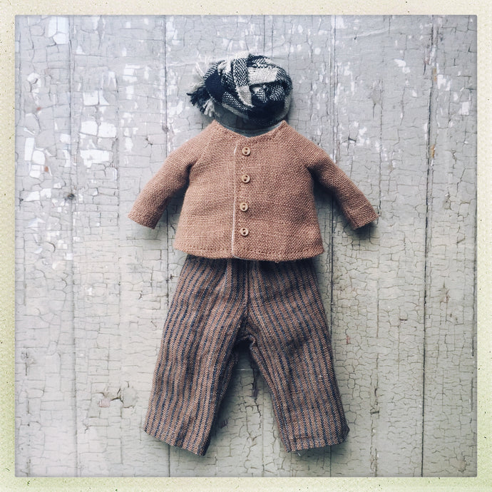 A pants and jacket set for Blythe - Brown stripe