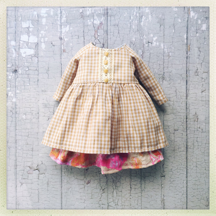 A Spring Bouquet - Yellow Gingham Dress - Outfit Set for Blythe Dolls