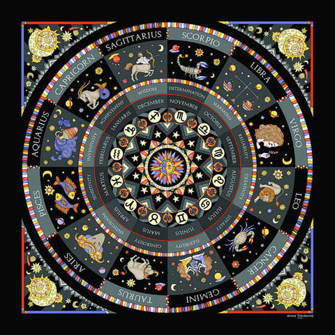 Astrology inspired scarf featuring the twelve Zodiac signs, black color, a unique scarf creation by ANNE TOURAINE Paris™