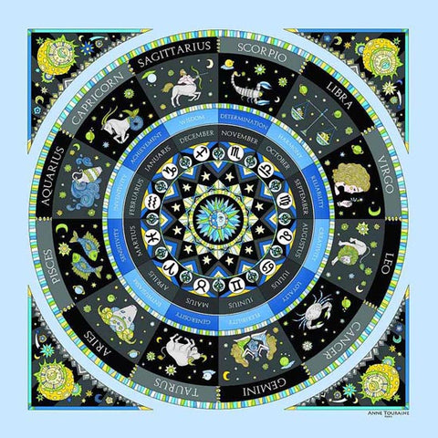 Astrology inspired scarf featuring the twelve Zodiac signs, blue color, a unique scarf creation by ANNE TOURAINE Paris™