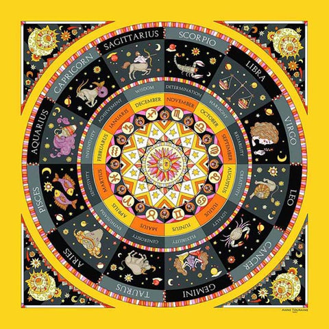 Astrology inspired scarf featuring the twelve Zodiac signs, yellow and black color, a unique scarf creation by ANNE TOURAINE Paris™